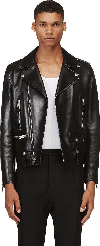 1369a96131a Saint Laurent - Black Classic Lambskin Biker Jacket | SSENSE | Yves ...