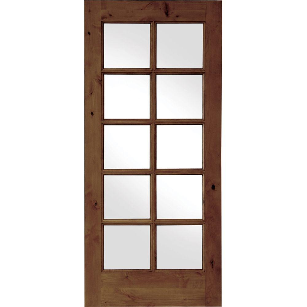 Krosswood Doors 36 In X 80 In French Knotty Alder 10 Lite Tempered Glass Solid Right Hand Wood Single Prehung Interior Door Slab Ka 420 30 68 138 Rh Prehung Interior Doors Doors Interior Wood Doors Interior