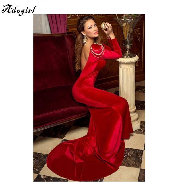 Winter Herfst 2016 Rode Fluwelen Feestjurken Lange Mouw Trompet Gown Sexy V-hals Vrouwen Elegante Lange Jurk Robe De Soiree Longue