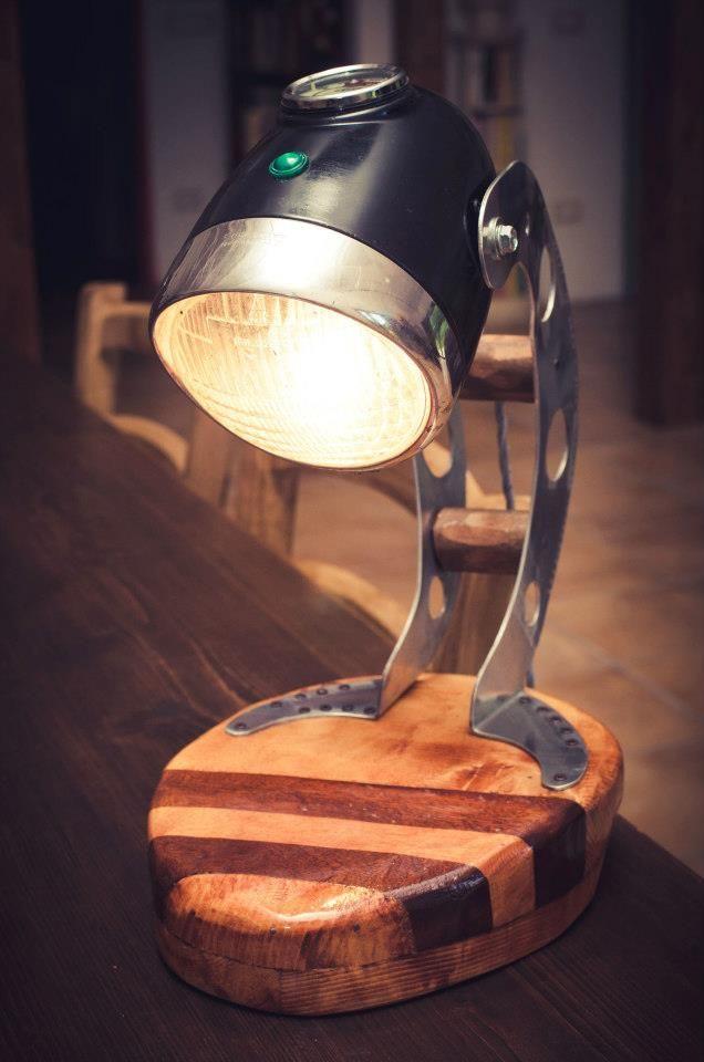 Image Result For Desk Lamp Made Of Motorcycle Headlight Ritningar Trahantverk Belysning Lampor