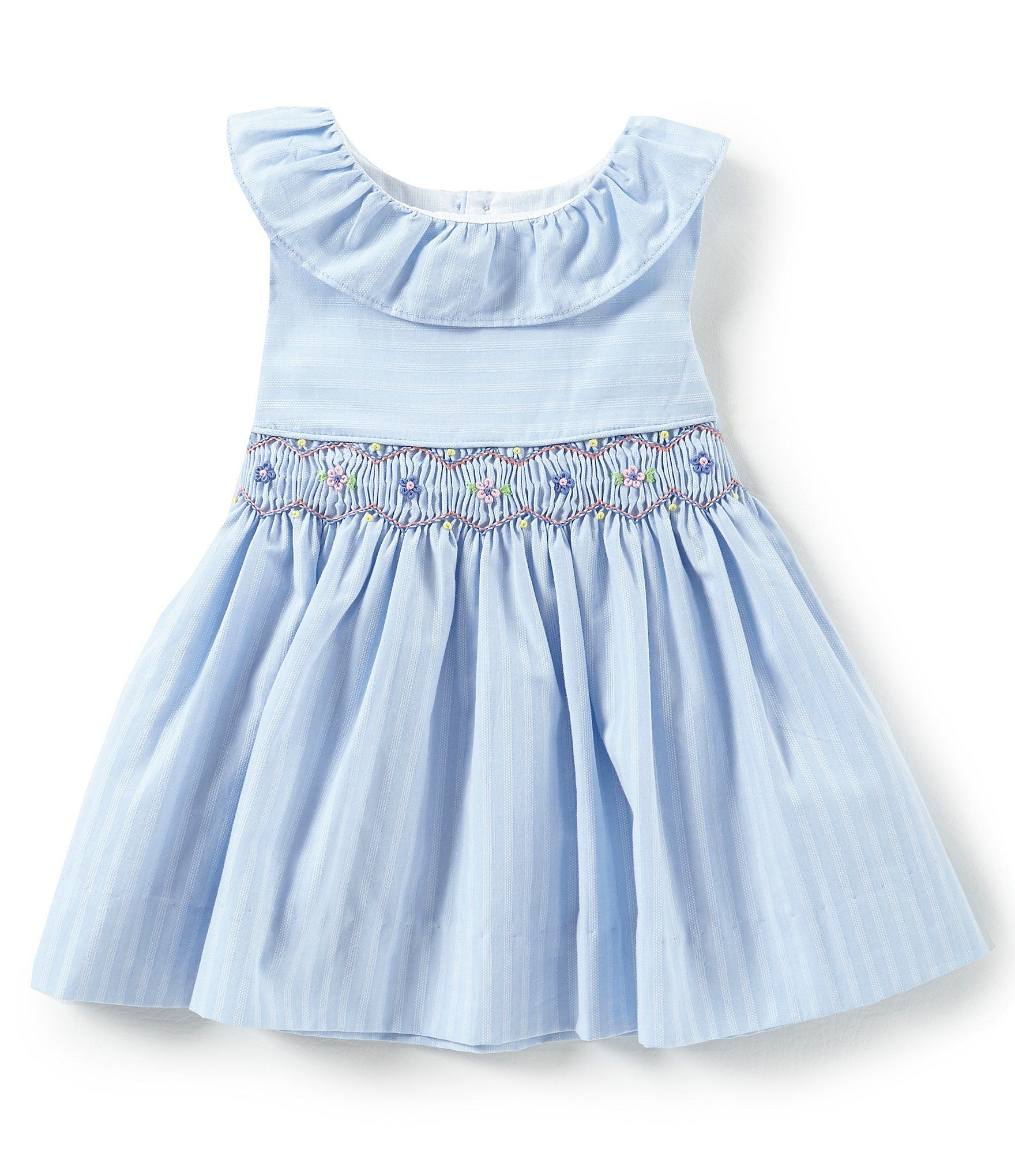 Edgehill Collection Baby Girl 3 24 Month Blue Stripe Smock Dress