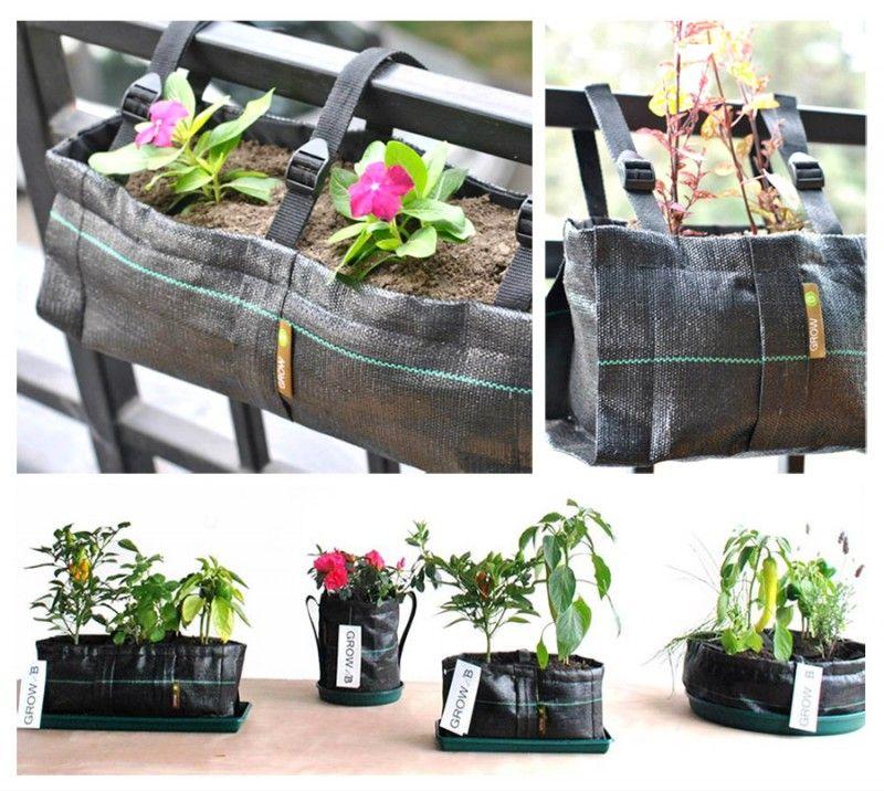 Macetas de tela reutilizables. Excelente idea para pequeños espacios ...