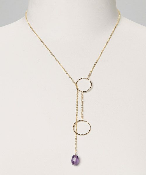 Accent a look with a little dash of luxury by dressing the neckline with a piece that combines a gold finish and a captivating amethyst pendant.19'' long14k gold-plated sterling silver / amethystMade in the USA