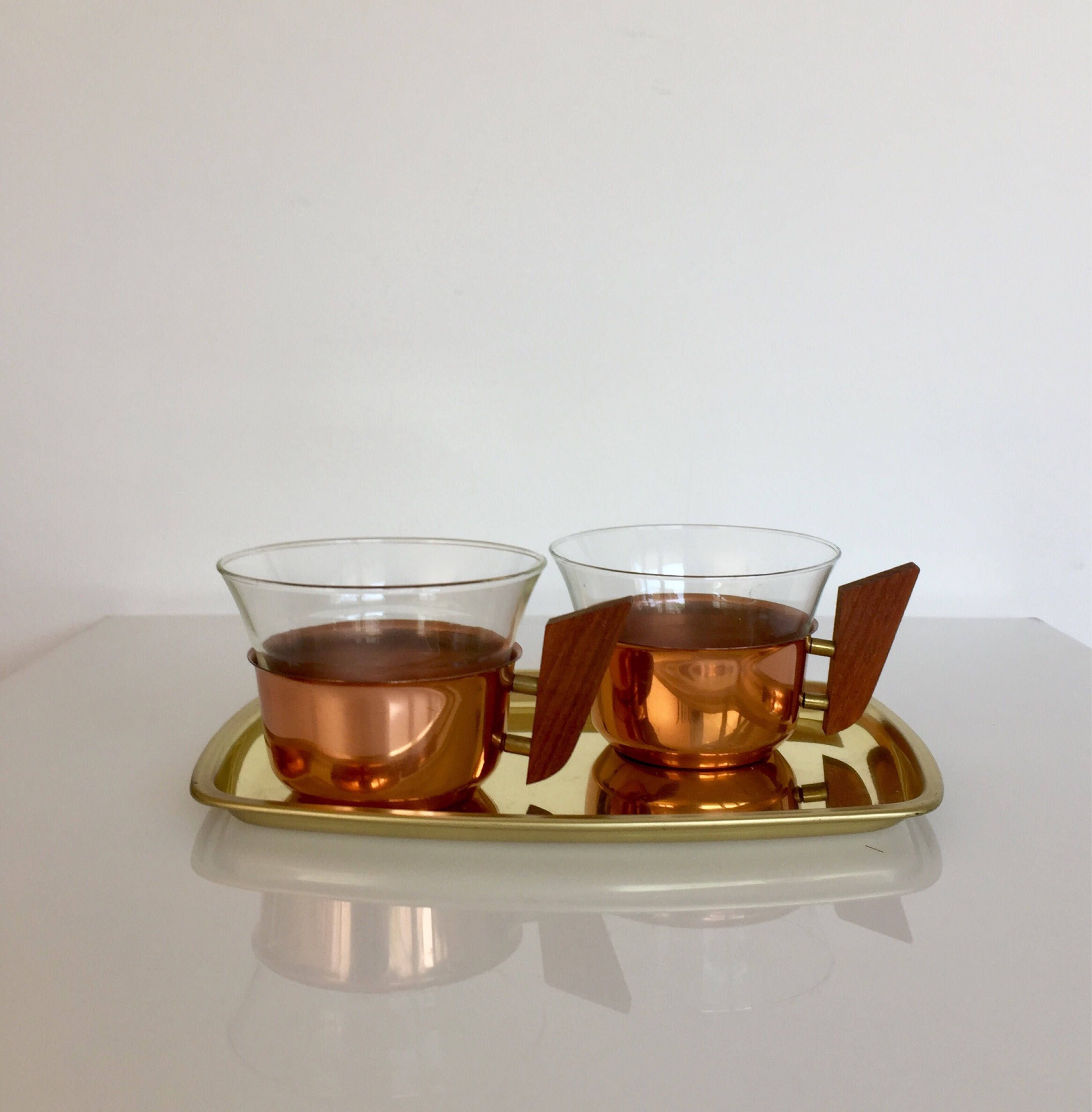 Teetassen Aus Glas Mid Century 60 S Tea Cups Made Of Copper With Glass Inserts On The