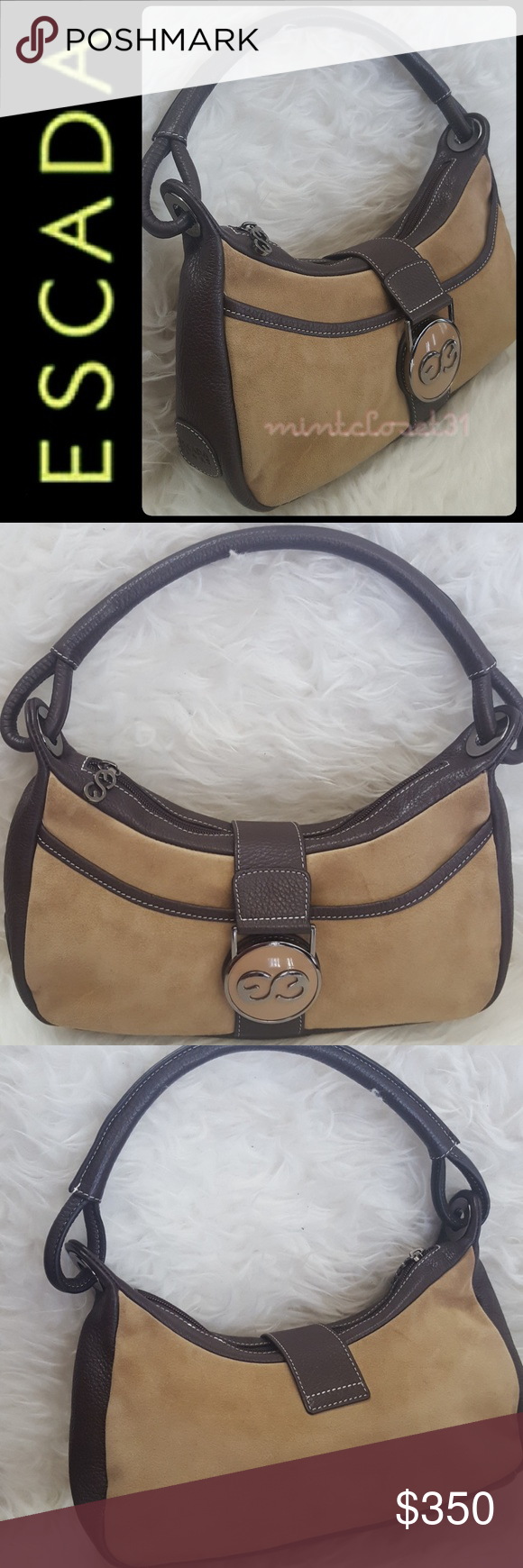 4762a87e69 Escada Sport Leather Suede Bag Escada Designer Purse in Gorgeous Sport  Edition! Features Luxurious Leather Suede with Silver Tone Hardware!