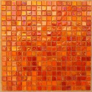 Orange Red Gl Mosaic Tile
