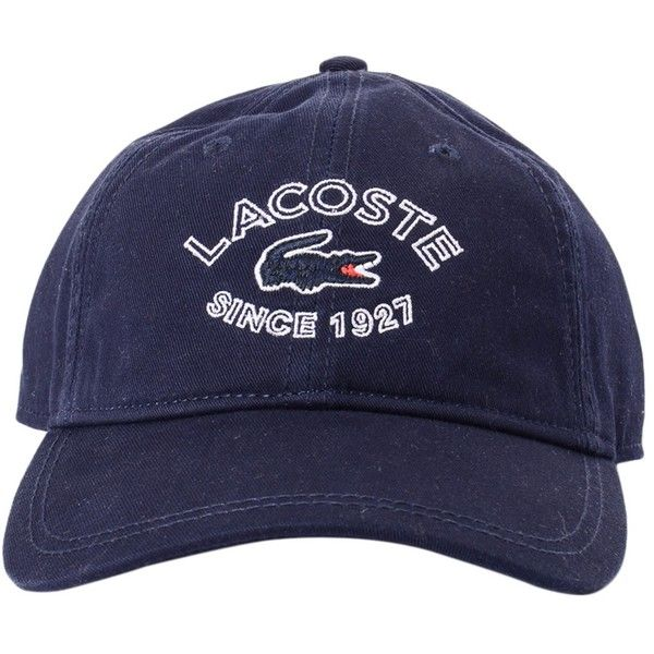 Lacoste Croc 1927 Logo Cap Navy ($46) ❤ liked on Polyvore featuring accessories and lacoste