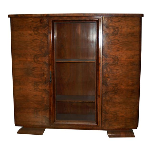 Walnut And Burl Art Deco Bookcase With Center Glass Door