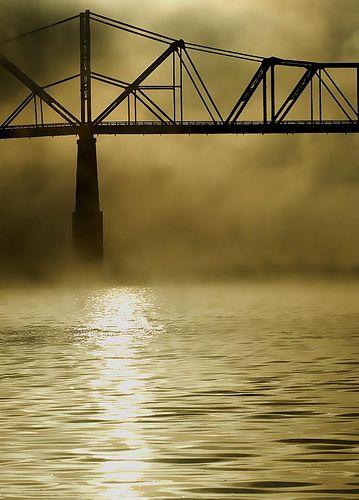 Ohio River Bridge in Fog