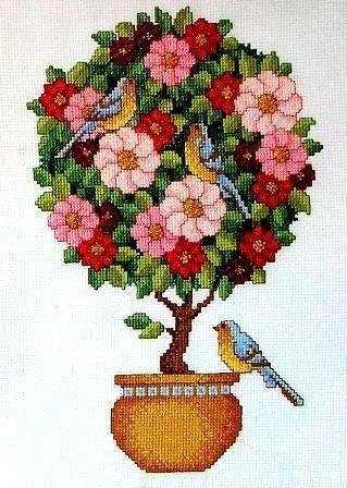 Деревья в горшках вышивка