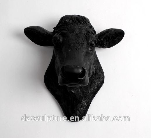 Black Cow Wall Decor : Wall hanging art decoration black cow head statue buy