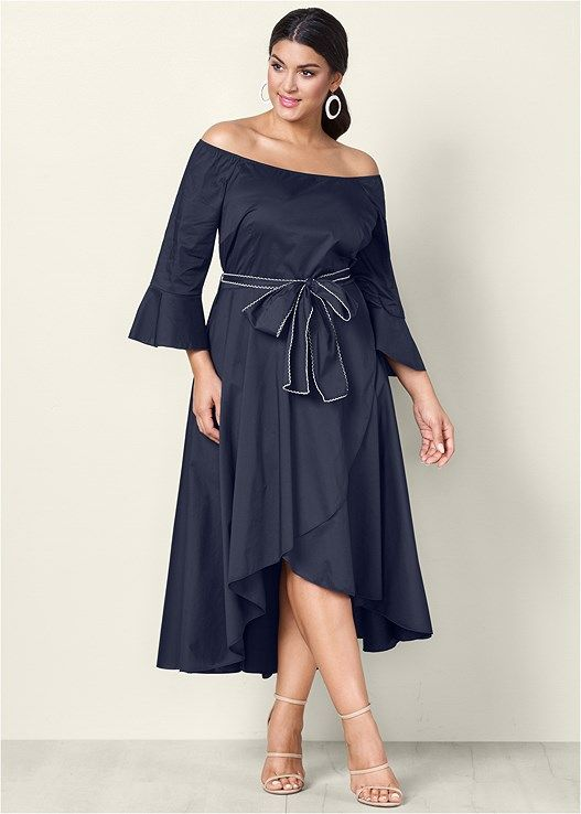 BOW DETAIL HIGH LOW DRESS | Plus Day Dresses in 2019 | Plus ...