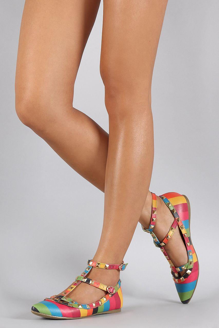 3f41d3f9157f Liliana Rainbow Striped Studded Caged Pointy Toe Ballet Flat