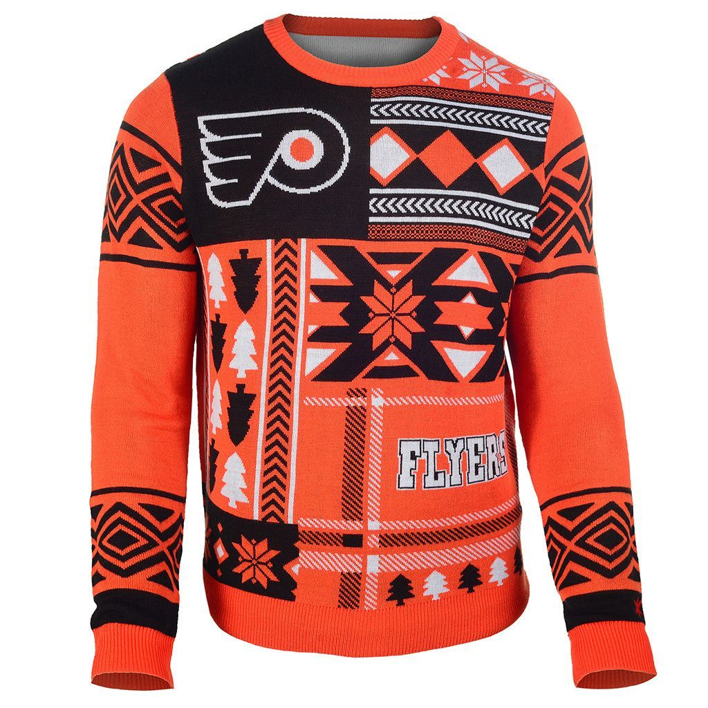 Philadelphia Flyers Patches Ugly Crew Neck Sweater