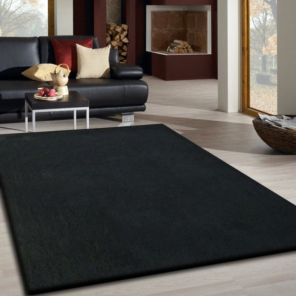 Black Long Soft Durable Shag Area Rug Area Rugs Rugs