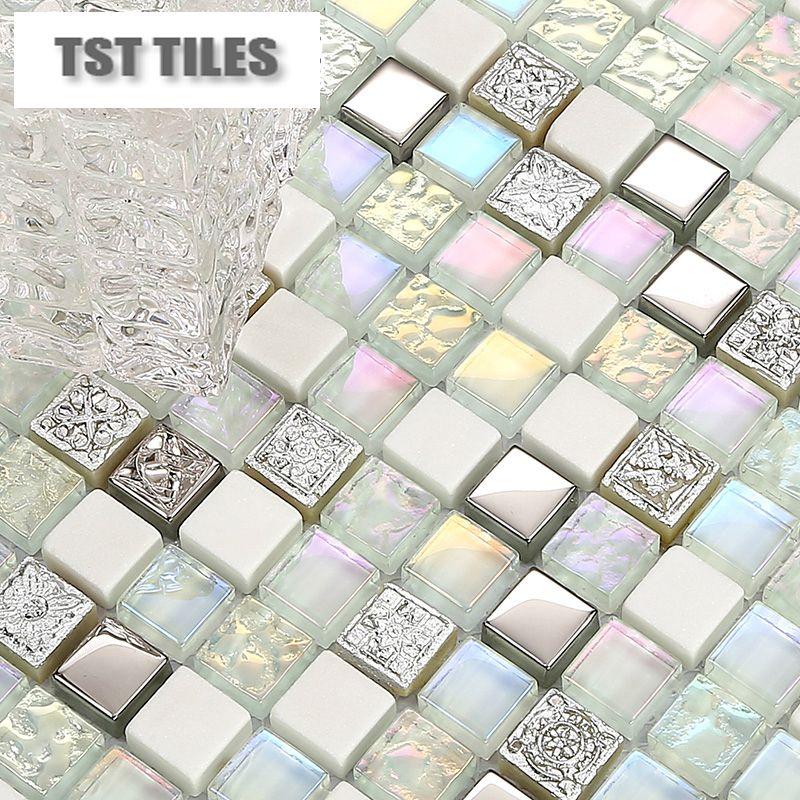 Silver mosaics white stone glass tiles kitchen backsplash mosaic art ...