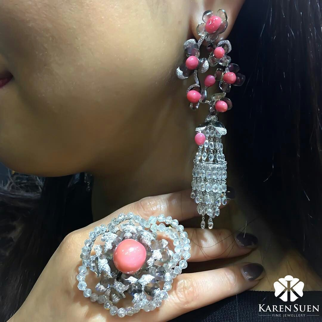Karensuenfinejewellery. Pretty in pink for Sundays  with Conch Pearl, Rose-cut & briolette diamonds