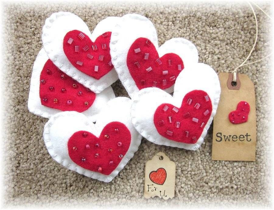 """5 red-New-Handcrafted- """"Valentine Cookies"""" Heart-bowl-fillers-ornies-tucks- #NaivePrimitive #BlueButterflysAttic"""