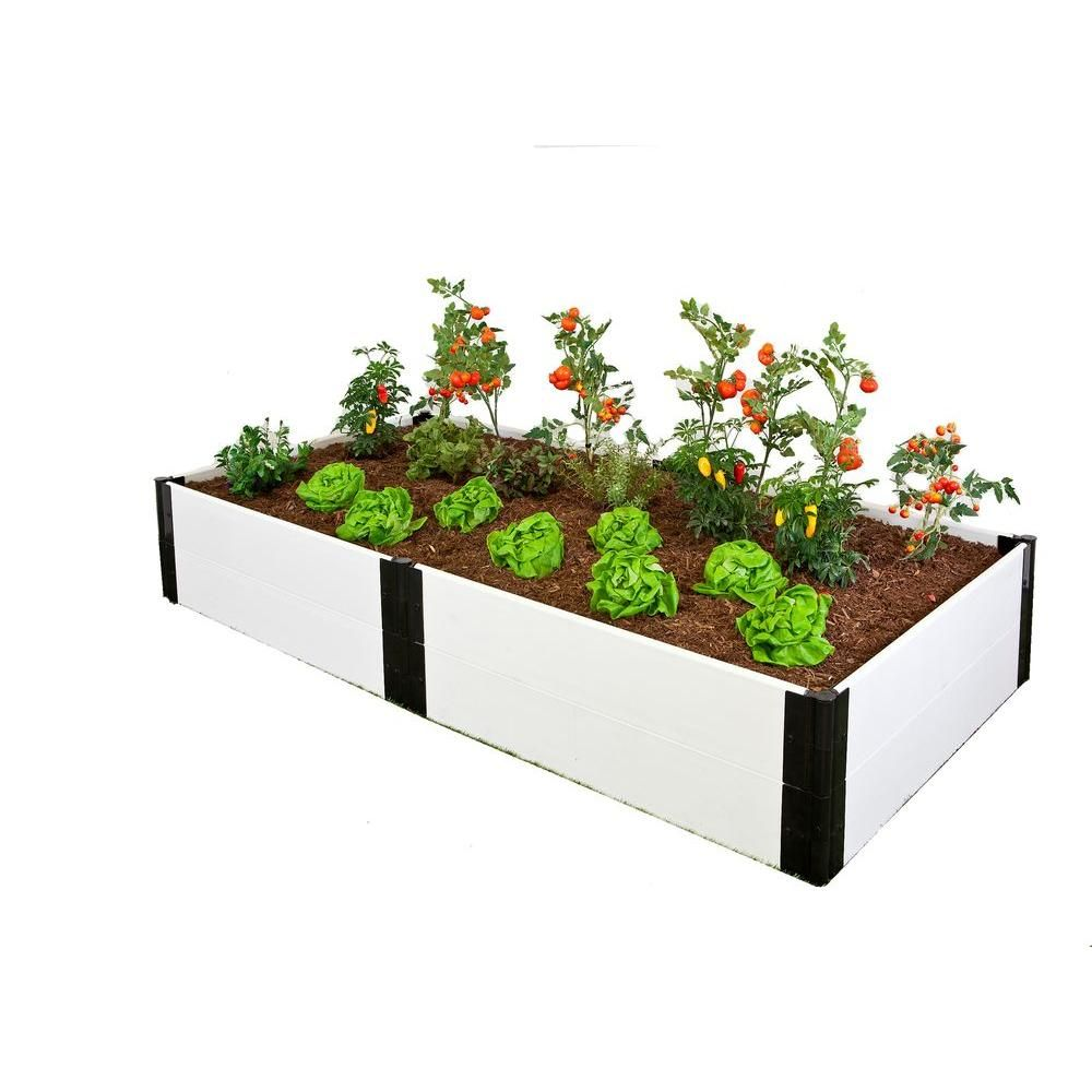 Frame It All 4 ft. x 8 ft. x 16 in. White Composite Raised Garden ...