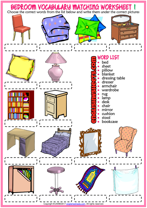 Bedroom Vocabulary Matching Exercise Worksheets For Kids Kendall