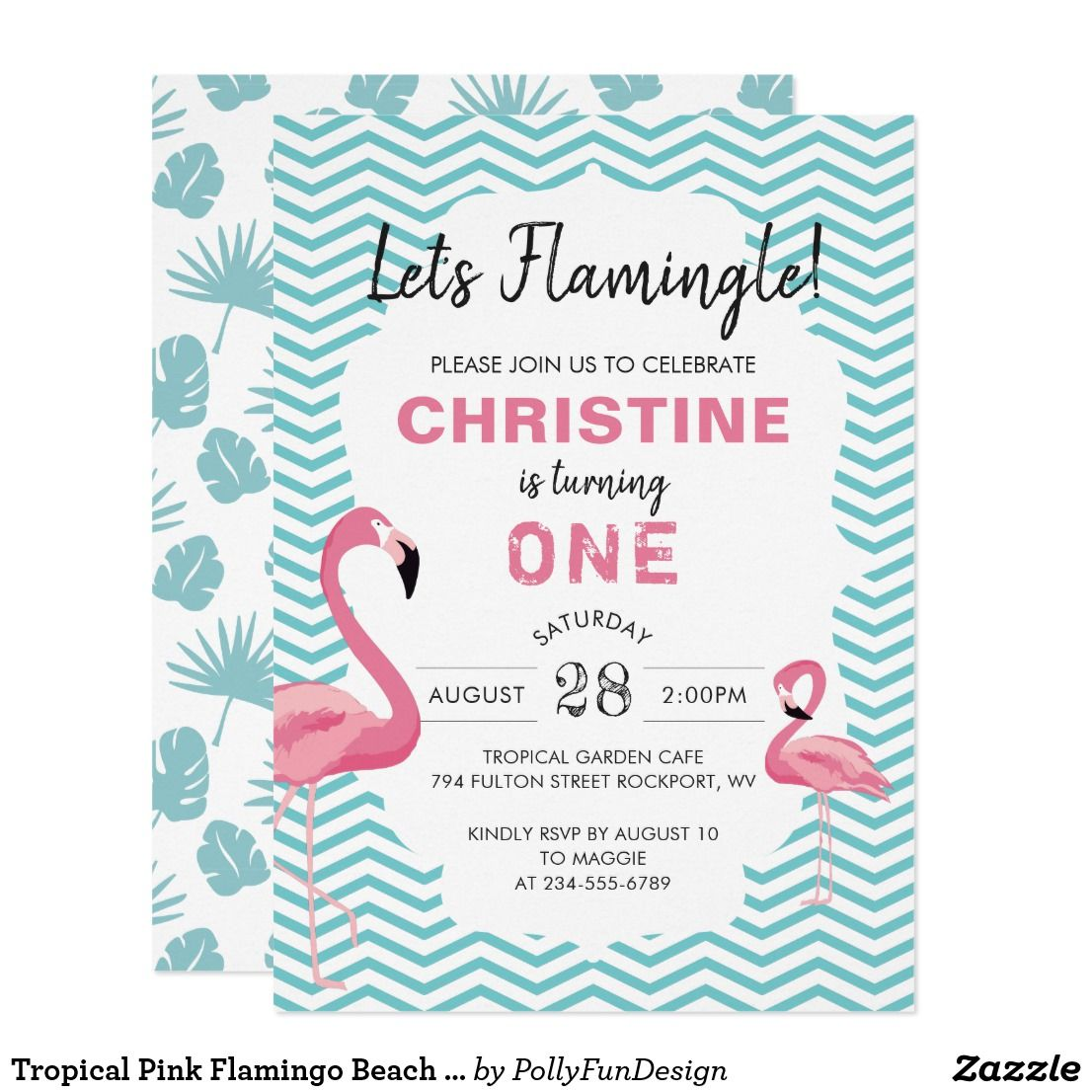 tropical pink flamingo beach birthday invitation in 2018 happy