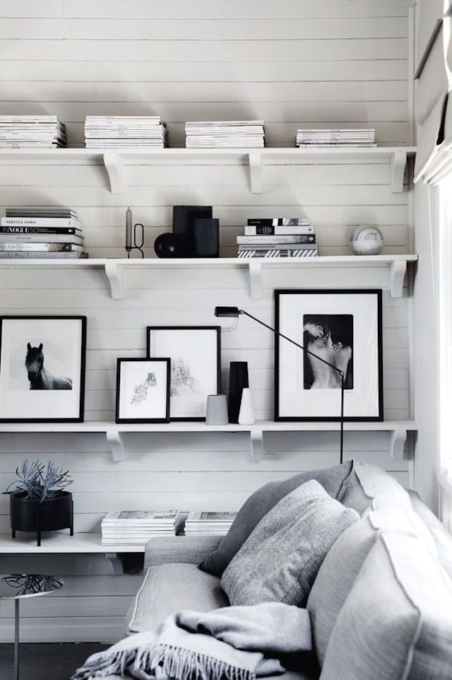 Shelving and white panels in the beautiful 'Cloverdel' cottage and gardens - photo Sharyn Cairns / design: Annabel Buxton.