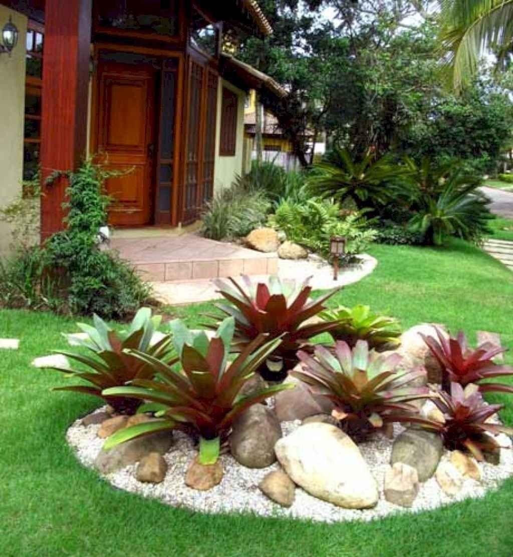 35 Stunning Front Yard Rock Garden Landscaping Design