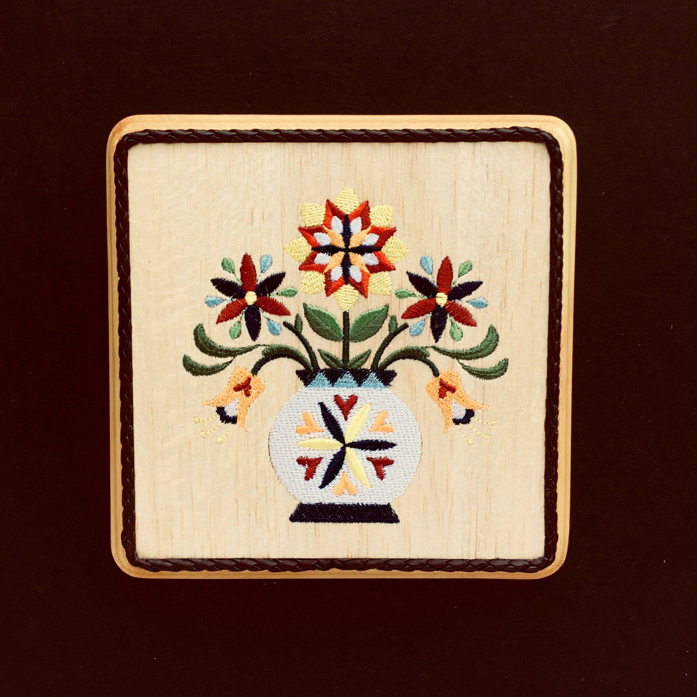 Pennsylvania dutch embroidery art on balsa wood german folk art