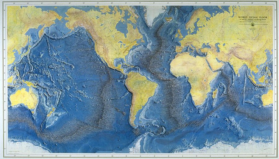 Ocean Topo Map Cartographie Geographie Carte