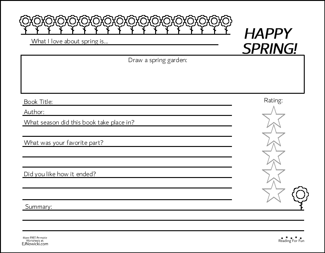 Spring Book Activity Fun Worksheets Holiday Worksheets Spring Reading [ 823 x 1058 Pixel ]