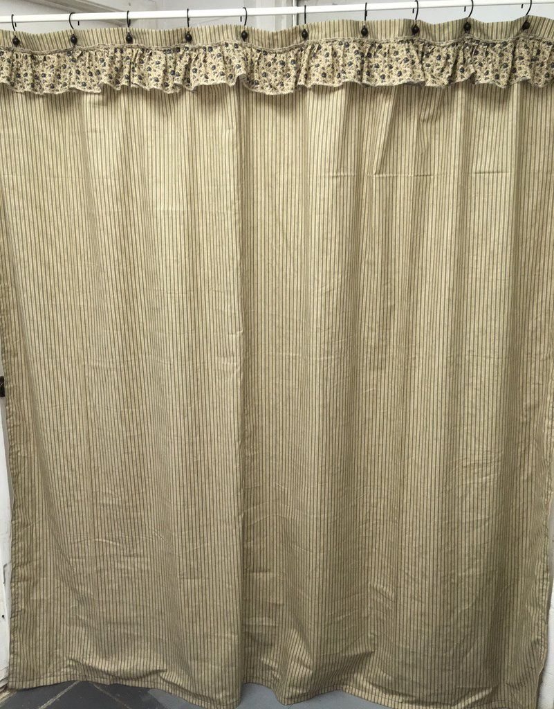Blue Ticking Floral Ruffled Shower Curtain