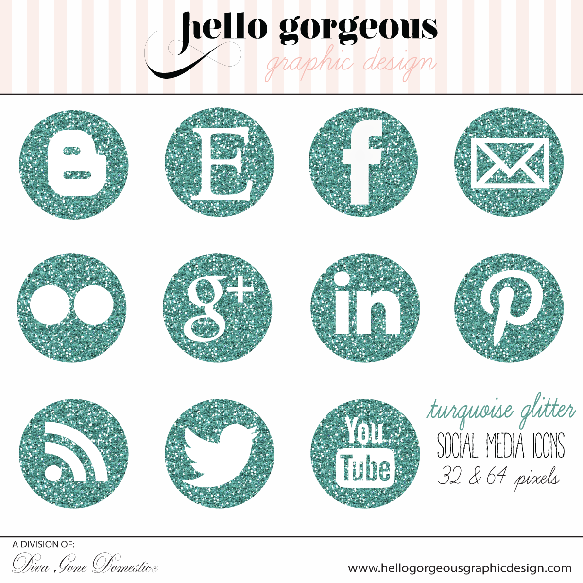 Turquoise Glitter Social Media Icon set includes 32px