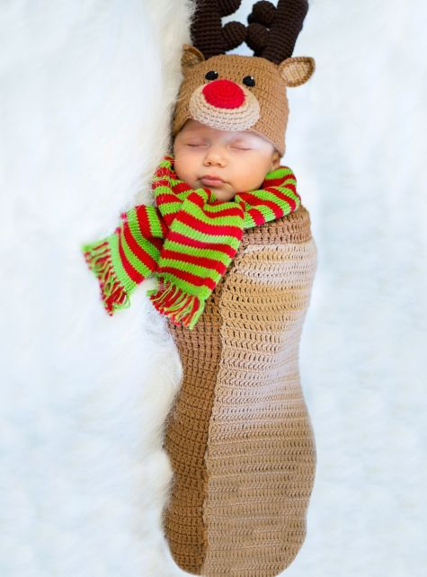 Our Baby Crochet Cocoon Reindeer Costume is worth its weight in milk and cookies! This baby reindeer costume includes a hand-crocheted hat and swaddle.  sc 1 st  Pinterest & Baby Crochet Cocoon Randolph Reindeer Costume - Party City ...