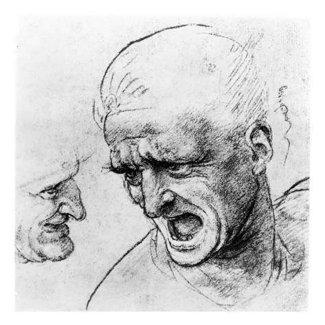Giclee Print: Study of the Heads of Two Soldiers, 1503-4 by Leonardo da Vinci : 16x16in