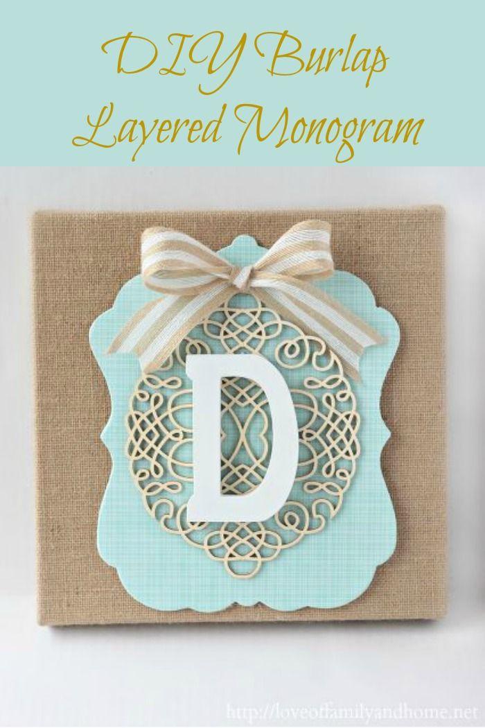 DIY burlap layerred monogram DIY layered burlap
