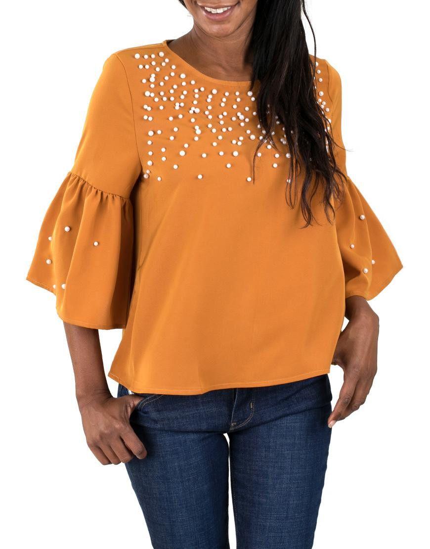 Cute And Comfortable Women S Look With Mustard Front Pearl Blouse Look De Mujer Lindo Y Comodo Con Blusa Mostaza Frente De Perlas Clothes Women Blouse