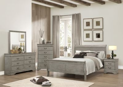 Best Crown Mark Louis Philippe Gray 4 Piece King Bedroom Set 400 x 300