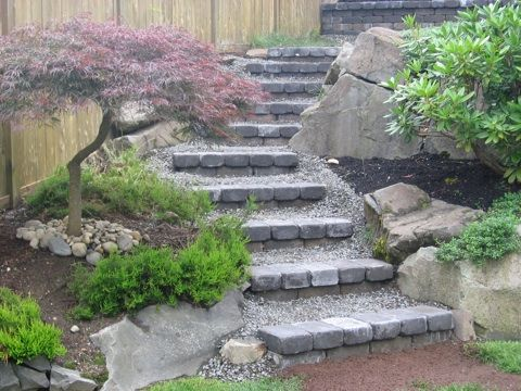 These Paver And Rock Steps Wind Artfully Up A Boulder