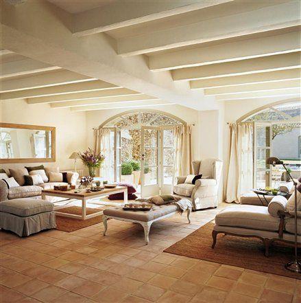 Una sala de estar r stica y afrancesada sala r stica la for Sala de estar rustica