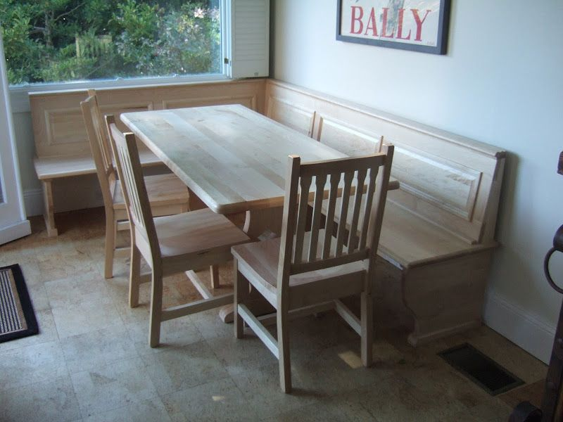 72 X 32 Bordeaux Dining Table Gustavus Chairs And Custom Corner Bench In Natural Hard Maple Corner Dining Table Corner Nook Kitchen Table Kitchen Nook Table