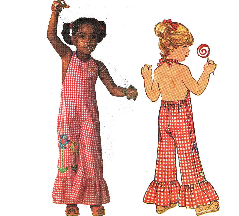 Retro 70s Toddler Girls Halter Jumpsuit Pattern Child Beauty ...