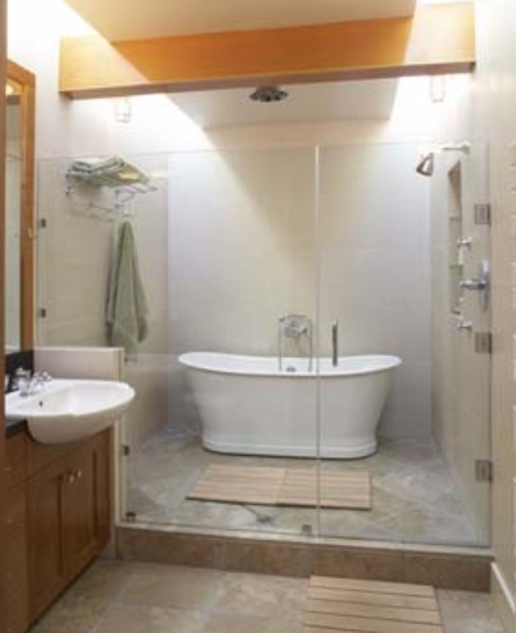 Shower tub wet room bathrooms pinterest wet rooms for Wet room or bathroom