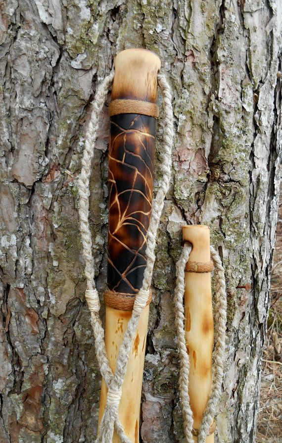 Root hiking stick with exotic wood pendant bark wrap