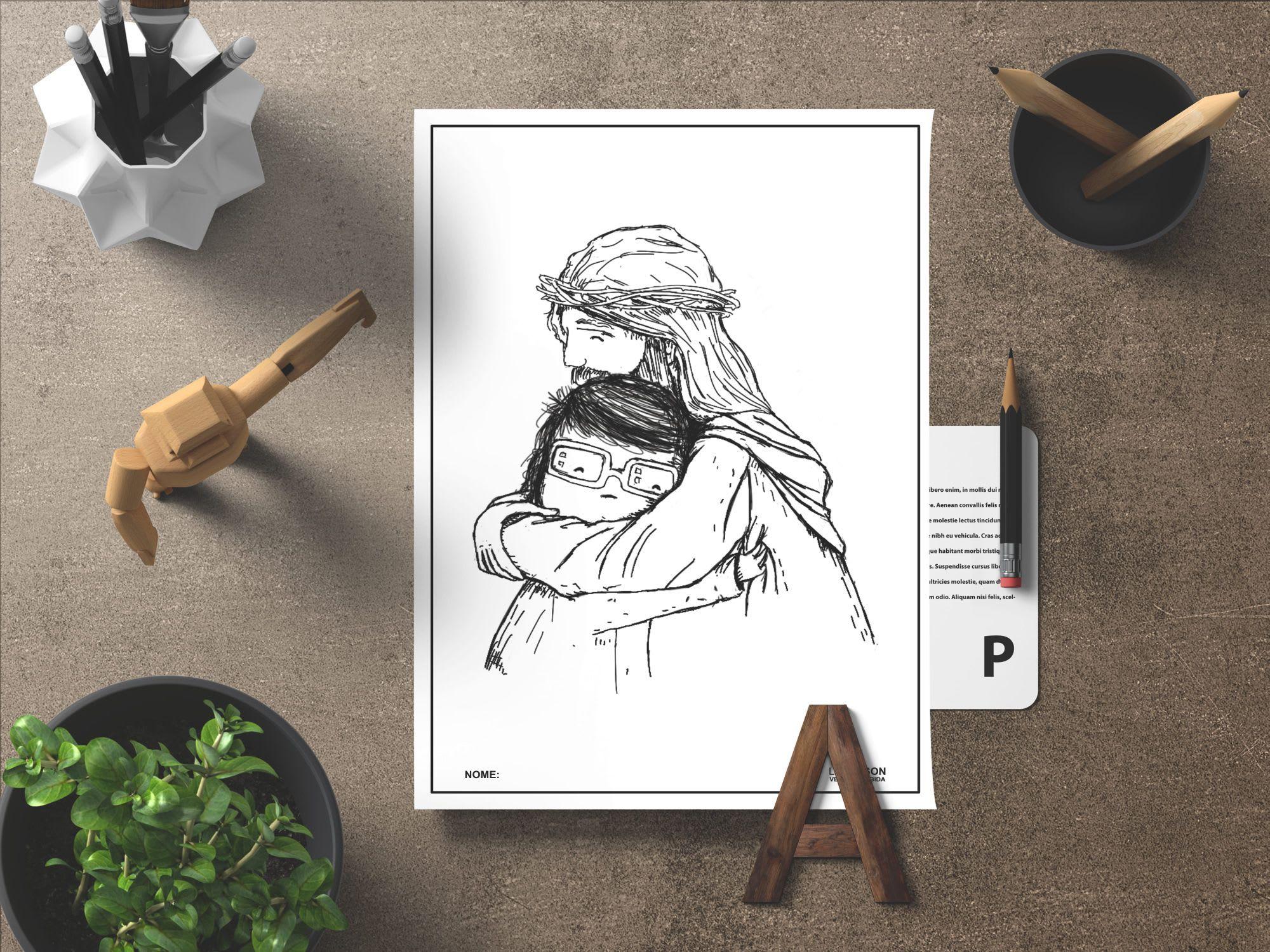 Abracando Jesus Desenho Para Colorir Com Imagens Desenhos