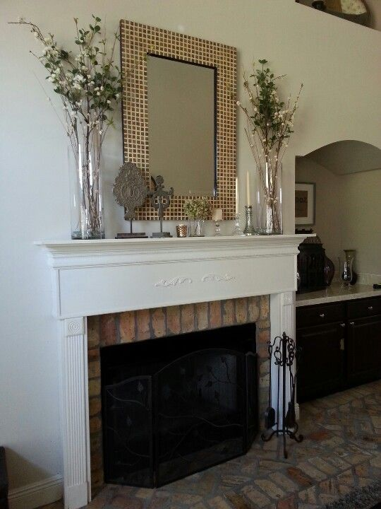 Glass Vases With Twigs For Mantle Fireplace Mantle Decor Above