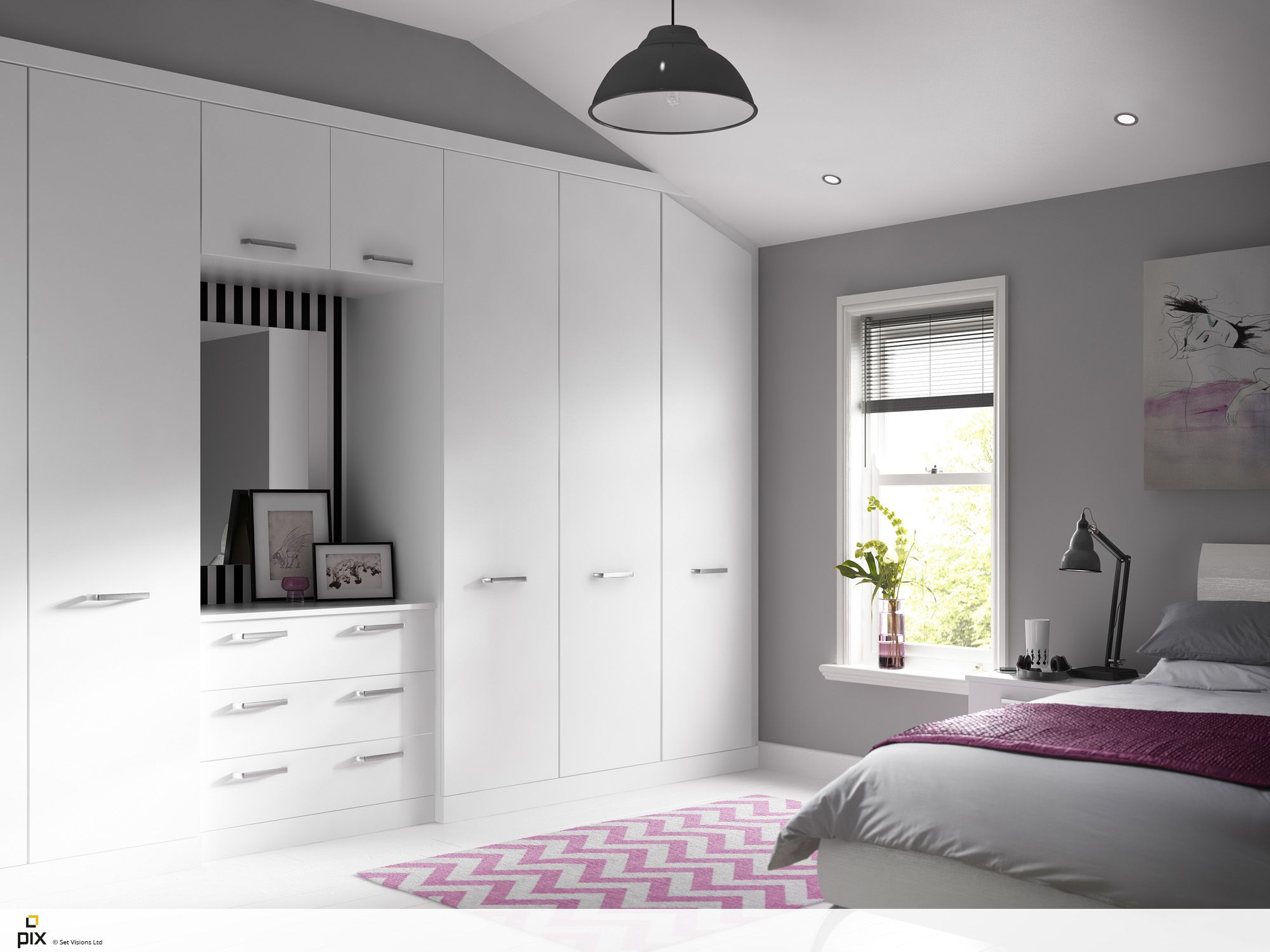Modern Fitted Bedroom With Pitched Roof Perfect For The Teenage - Modern retro bedroom