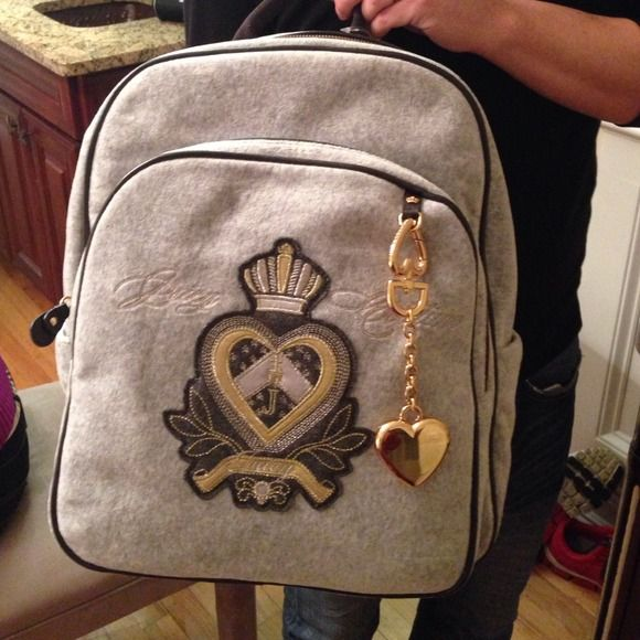 Grey flannel Juicy Couture Back Pack- NWT Brand new grey Juicy backpack, from smoke free, pet free home! Juicy Couture Bags