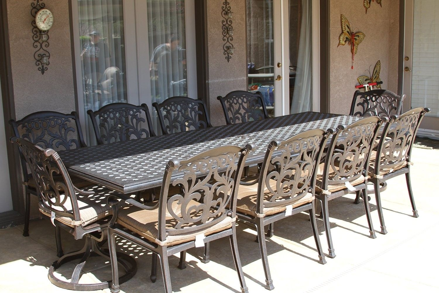 Flamingo 11pc Outdoor Patio Dining Set With 46x120 Rectangle Table