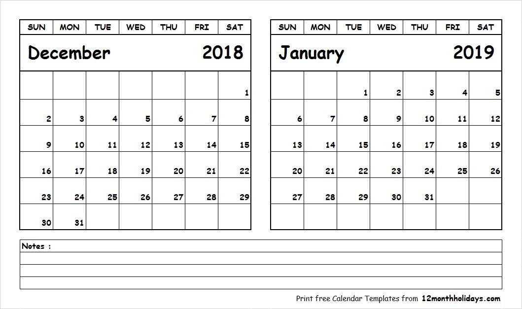 blank calendar december 2018 january 2019