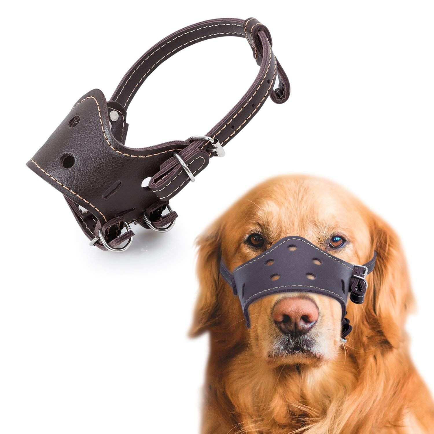 Dog Muzzles Bienna Breathable Pet Dog Leather Mesh Mouth Cover